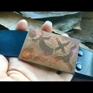 Copper Cosmos Belt Buckle and LEVI Leather Belt